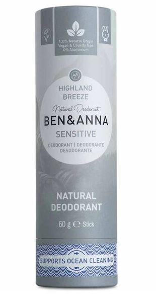 Ben and Anna Deodorant Sensitive Highland Breeze in paper tube 60 g